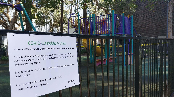 COVID-19 notice in park in Sydney, Australia