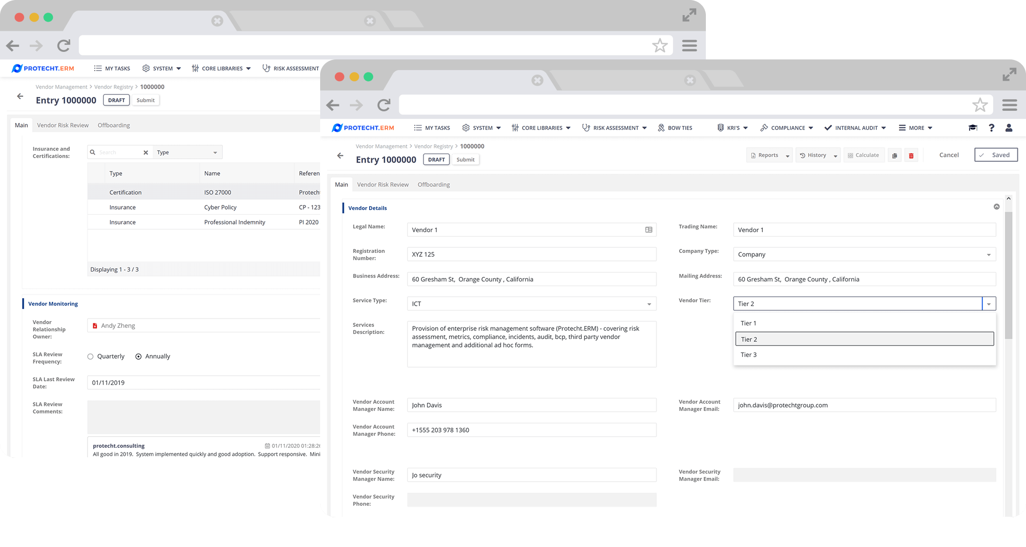 Direct access by vendors to registers