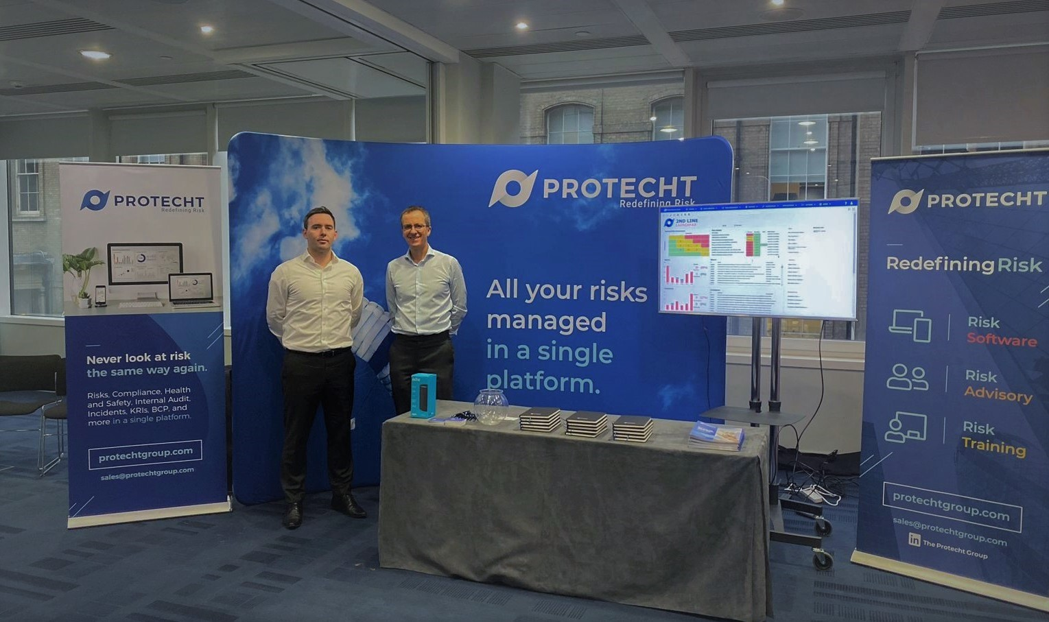 Gary Lynam and Keith Davies in the Protecht space - IRM Conference 2019