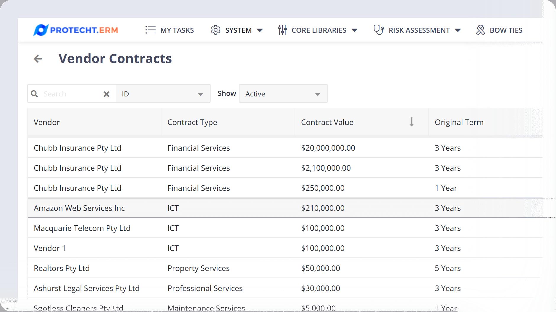 Vendor Contracts Register