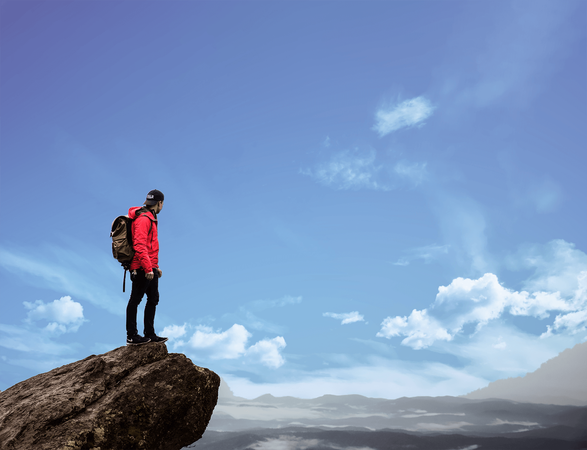 Mountain climbing man to show concept of taking risks